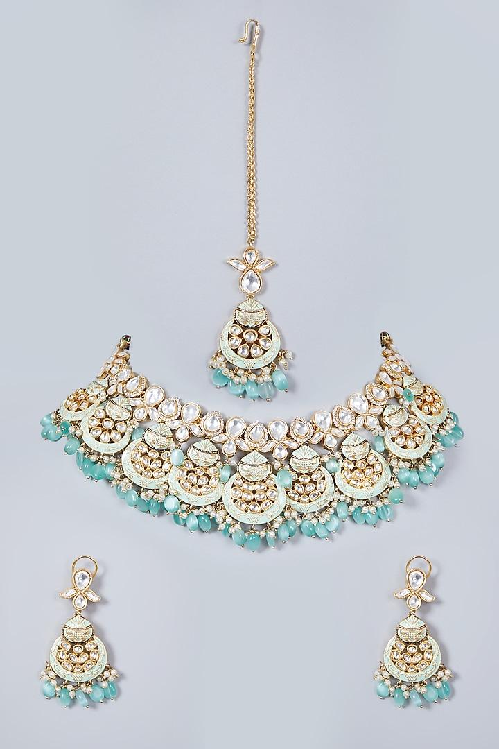 Gold Finish Kundan Polki Necklace Set by Khushi Jewels