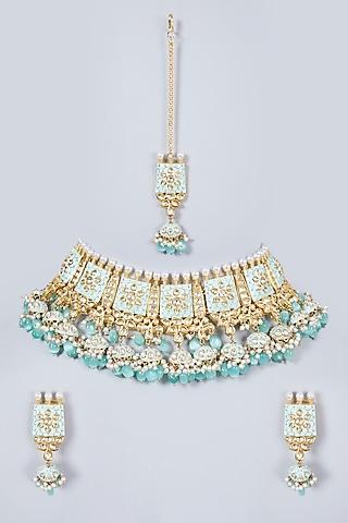 Gold Finish Necklace Set With Kundan Polki by Khushi Jewels