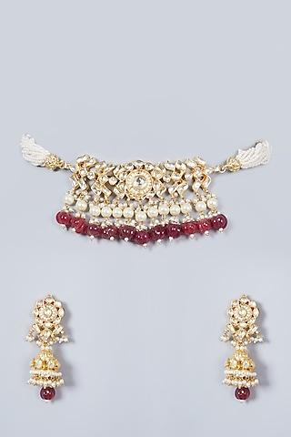 Gold Finish Kundan Polki Choker Necklace Set by Khushi Jewels