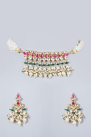 Gold Finish Choker Necklace Set With Kundan Polki by Khushi Jewels