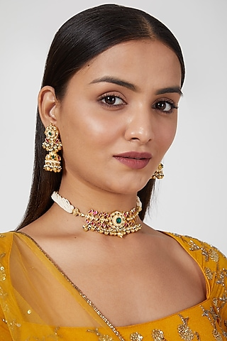 Gold Finish Kundan Polki & Pearls Choker Necklace Set by Khushi Jewels