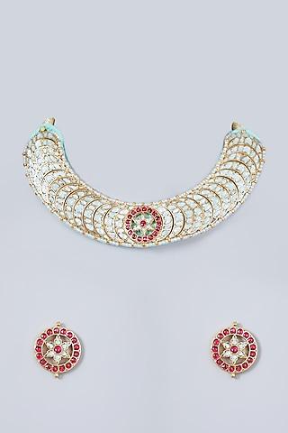 Gold Finish Kundan Polki & Ruby Necklace Set by Khushi Jewels