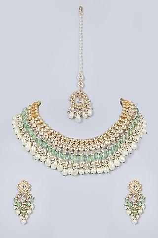 Gold Finish Kundan Polki Necklace Set With Maang Tika by Khushi Jewels