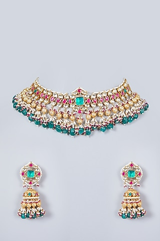 Gold Finish Mixed Metal Necklace Set With Kundan Polki by Khushi Jewels