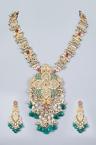 Gold Finish Kundan Polki Pendant Necklace Set by Khushi Jewels