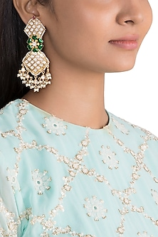Gold Finish Green Enameled Kundan Earrings by Khushi Jewels