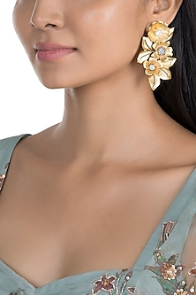 Gold Finish Floral & Leaf Earrings by Khushi Jewels