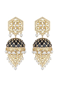 Gold Finish Black Enameled Kundan Earrings by Khushi Jewels