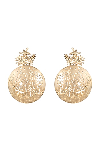 Gold Finish Metal Earrings by Khushi Jewels