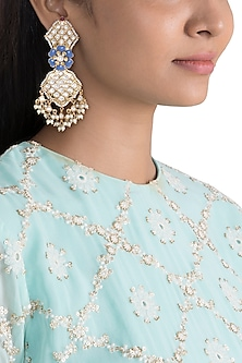 Gold Finish Blue Enameled Kundan Earrings by Khushi Jewels