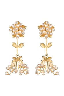 Gold Finish Faux Pearl Earrings by Khushi Jewels