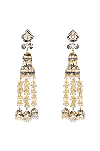 Gold Finish Faux Pearl, Kundan & CZ Diamond Earrings by Khushi Jewels