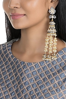 Gold Finish Faux Pearl, Kundan & CZ Diamond Earrings by Khushi Jewels