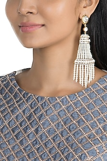 Gold Finish Faux Moti Tassel Earrings by Khushi Jewels
