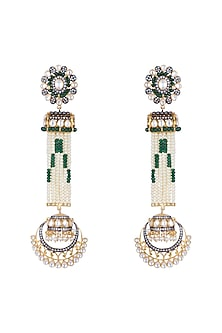 Gold Finish Faux Pearl, Kundan & CZ Diamond Long Earrings by Khushi Jewels