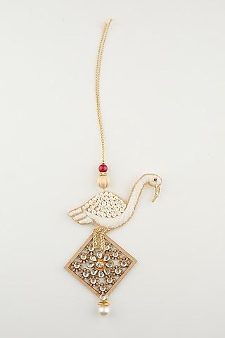 White Handmade Rakhi & Lumba Set by Khushi Jewels