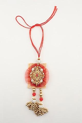 Red Floral Handmade Rakhi & Lumba Set by Khushi Jewels