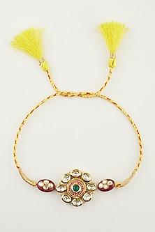 Yellow & Golden Kundan Beaded Rakhi by Khushi Jewels-SEND RAKHIS TO AUSTRALIA