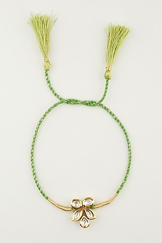 Green & Golden Kundan Beaded Rakhi by Khushi Jewels