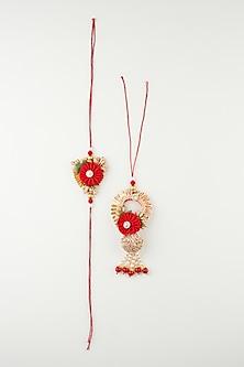 Red Handmade Floral Rakhi & Lumba Set by Khushi Jewels-LUMBA RAKHIS
