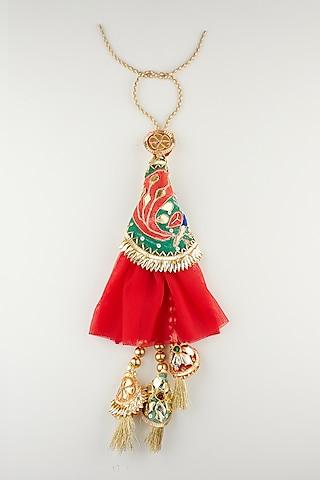Red Peacock Handmade Rakhi & Lumba Set by Khushi Jewels