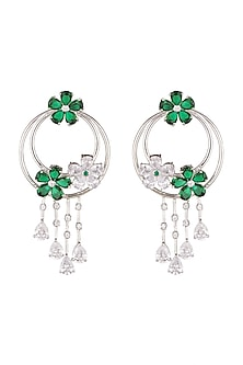 White Finish Green Diamonds Earrings by Khushi Jewels