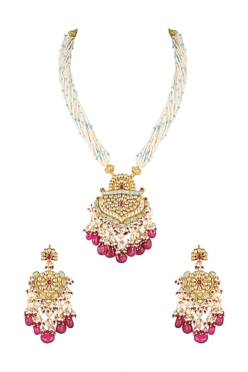 Gold Finish Ruby Beads Necklace Set by Khushi Jewels