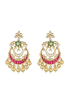 Gold Finish Beads Earrings by Khushi Jewels