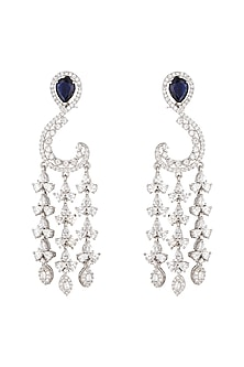 White Finish CZ Diamonds Earrings by Khushi Jewels