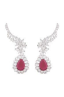White Finish Ruby Earrings by Khushi Jewels