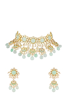 Gold Finish Beads & Kundan Necklace Set by Khushi Jewels