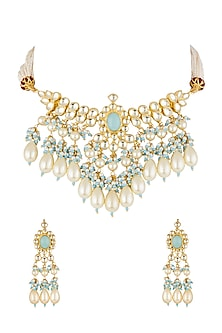 Gold Finish Kundan & Beads Necklace Set by Khushi Jewels