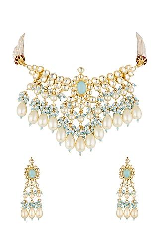 Gold Finish Kundan & Beads Necklace Set by Khushi Jewels