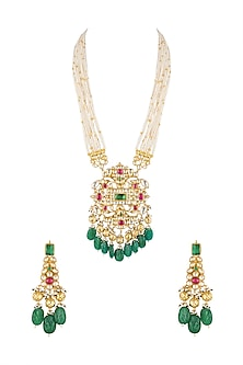 Gold Finish Pendant Necklace Set by Khushi Jewels