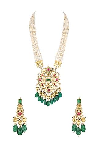 Gold Finish Pendant Necklace Set by Khushi Jewels