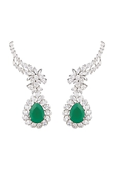 White Finish Emerald Earrings by Khushi Jewels