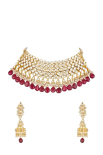 Gold Finish Ruby Necklace Set by Khushi Jewels