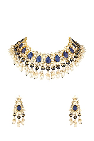Gold Finish Beads Choker Necklace Set by Khushi Jewels