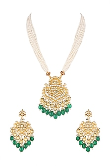 Gold Finish Beads Pendant Necklace Set by Khushi Jewels