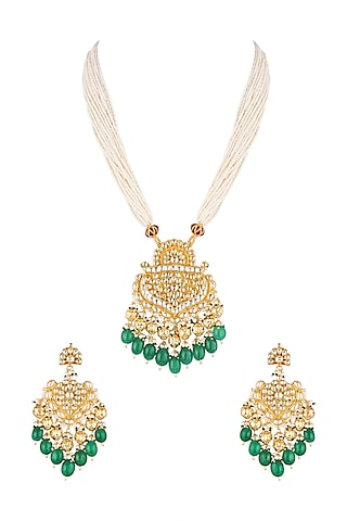 Gold Finish Beads Pendant Necklace Set by Khushi Jewels