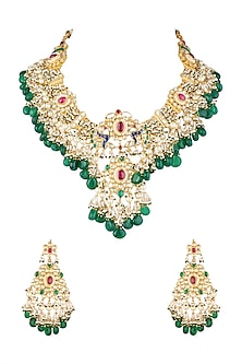 Gold Finish Kundan Necklace Set by Khushi Jewels