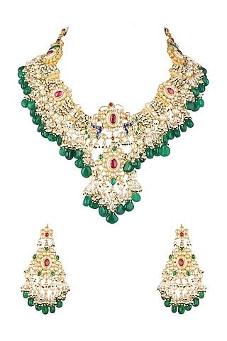 Gold Finish Kundan Necklace Set by Khushi Jewels