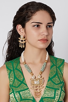 Gold Finish Mala Necklace Set by Khushi Jewels