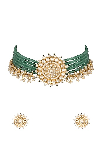 Gold Finish Green Stone & Bead Necklace Set by Khushi Jewels