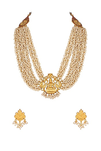 Gold Finish Temple Necklace Set by Khushi Jewels