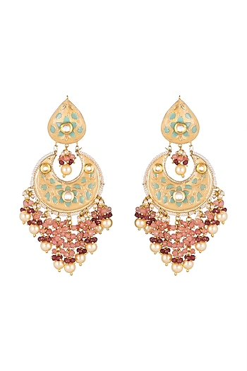 Gold Finish Green Enameled Earrings by Khushi Jewels