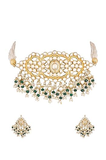 Gold Finish Kundan & Stone Necklace Set by Khushi Jewels