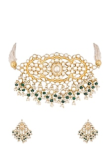 Gold Finish Kundan & Stone Necklace Set by Khushi Jewels