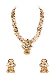 Gold Finish Moti Mala Necklace Set by Khushi Jewels