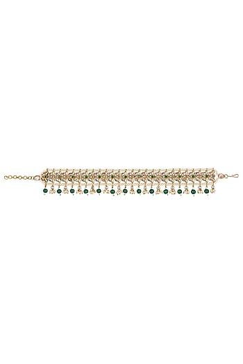 Gold Finish Moti Anklets by Khushi Jewels